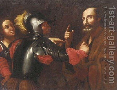 The denial of Saint Peter by (after) Michelangelo Merisi Da Caravaggio - Reproduction Oil Painting