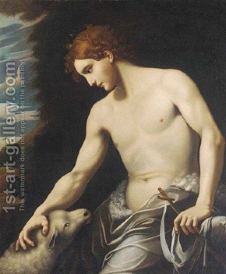 Saint John the Baptist in a landscape by (after) Michele Desubleo - Reproduction Oil Painting