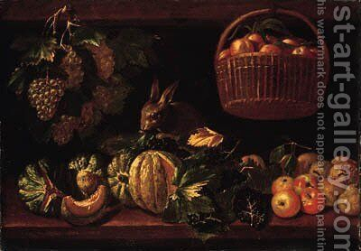Fruits by (after) Michele Pace Del (Michelangelo Di) Campidoglio - Reproduction Oil Painting