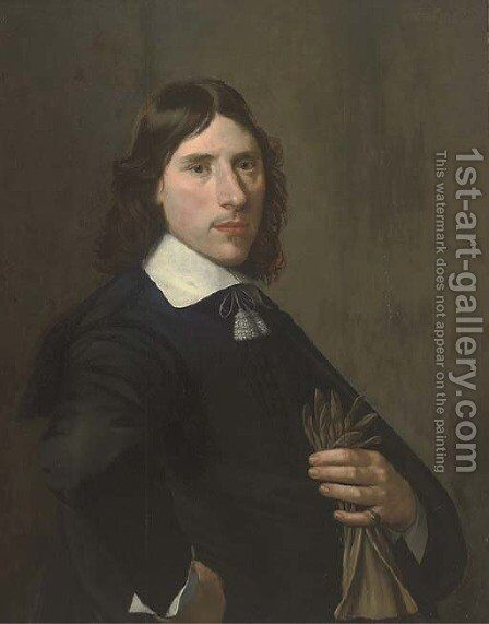 Portrait of a gentleman, half-length, holding gloves in his left hand by (after) Michiel Jansz. Van Mierevelt - Reproduction Oil Painting