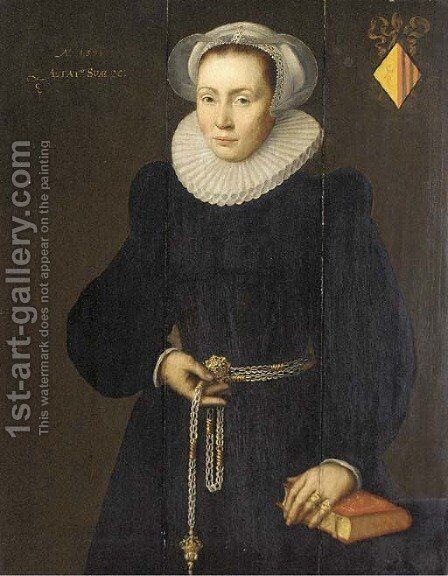 Portrait of a lady, aged 30, three-quarter-length, in a black dress with a white ruff, a pomander in her right hand, her left arm resting on a book by (after) Michiel Jansz. Van Mierevelt - Reproduction Oil Painting