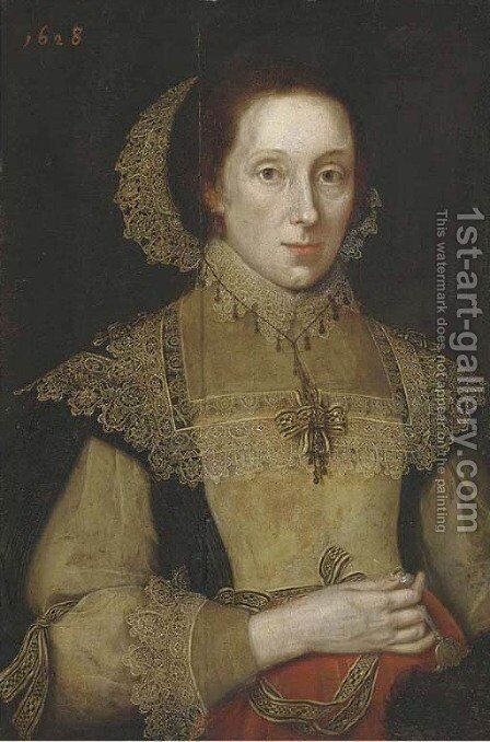 Portrait of a lady, three-quarter-length, in a black, white and red dress, with white lace collar, cuffs and headdress, a fan in her right hand by (after) Michiel Jansz. Van Mierevelt - Reproduction Oil Painting