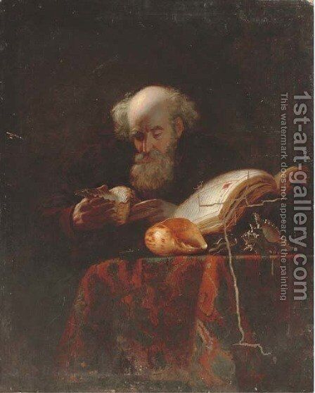 An old man studying shells by (after) Michiel Sweerts - Reproduction Oil Painting