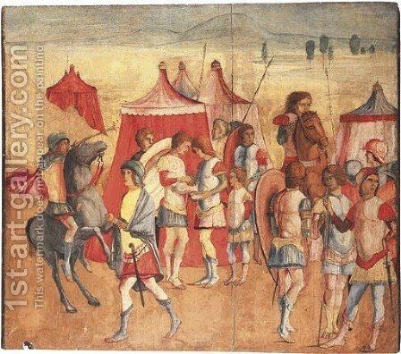 A Roman encampment by (after) Niccolo II Giolfino - Reproduction Oil Painting