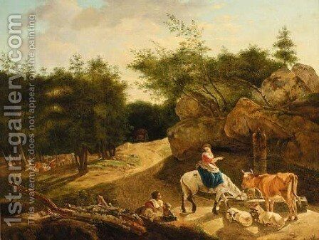 Figures with a horse, bull and sheep watering by a wooded track by (after) Nicolaes Berchem - Reproduction Oil Painting