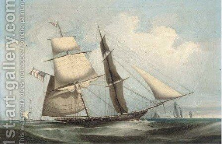 An armed brig heaving-to in the Channel by (after) Condy, Nicholas Matthews - Reproduction Oil Painting