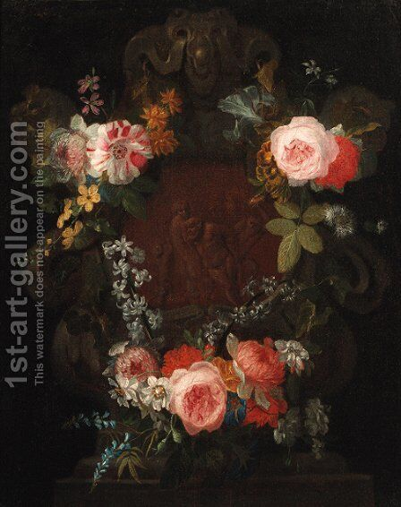 A swag of roses by (after) Nicholas Van Verendael - Reproduction Oil Painting