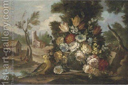 Mixed flowers in a basket in a clearing by (after) Nicola Casissa - Reproduction Oil Painting