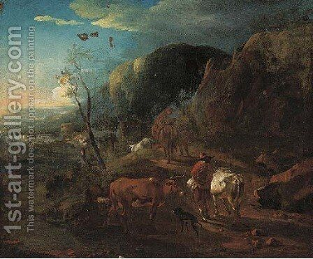 A mountain path with cattle and drovers by (after) Nicolaes Berchem - Reproduction Oil Painting