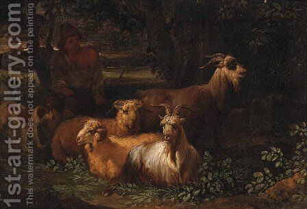 A Shepherd with Livestock in a wooded Landscape by (after) Nicolaes Berchem - Reproduction Oil Painting