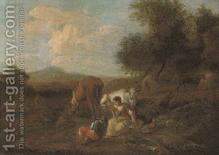 A wooded landscape with figures and cattle at rest, a ploughman beyond by (after) Nicolaes Berchem - Reproduction Oil Painting