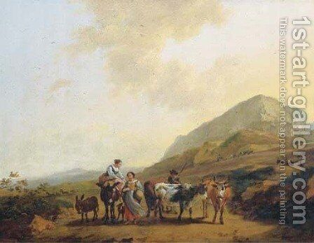 An Italianate landscape with two women and a shepherd and his cattle by (after) Nicolaes Berchem - Reproduction Oil Painting
