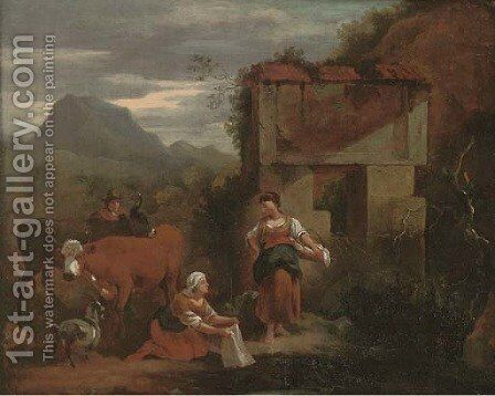 Peasants with cattle, a mountainous landscape beyond by (after) Nicolaes Berchem - Reproduction Oil Painting