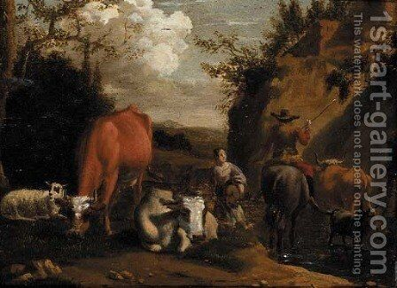 Watering the livestock by (after) Nicolaes Berchem - Reproduction Oil Painting