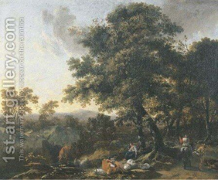 A wooded mountainous landscape with travellers and herdsmen on a track by (after) Nicolaes Berchem - Reproduction Oil Painting
