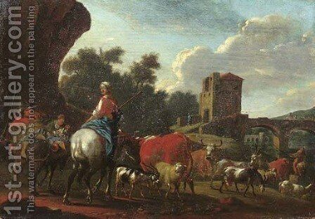 Cowherds with cattle, sheep and goats crossing a river by a bridge in an Italianate landscape by (after) Nicolaes Berchem - Reproduction Oil Painting