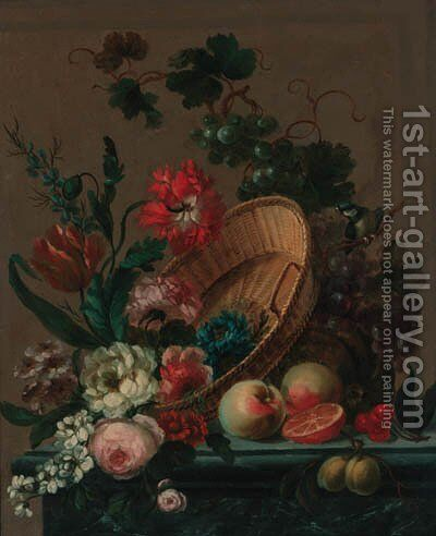 Parrot tulips, roses, a carnation, convulvulus, an iris and other flowers by (after) Nicolaes Van Veerendael - Reproduction Oil Painting