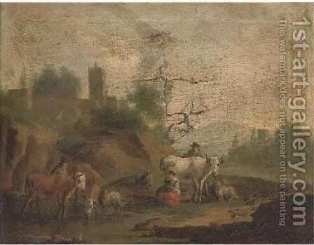 A landscape with a milkmaid, cattle and other figures by a river by (after) Nicolaes Berchem - Reproduction Oil Painting