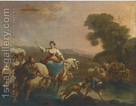 An Italianate river landscape with a shepherd and his flock and travellers by (after) Nicolaes Berchem - Reproduction Oil Painting