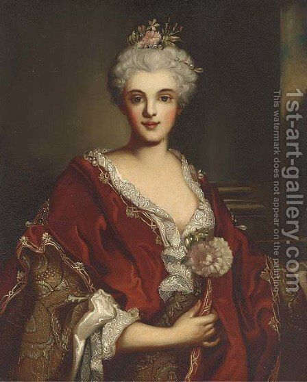 Portrait of a lady, half-length, in a red shawl and pearl head-dress by (after) Nicolas De Largilliere - Reproduction Oil Painting