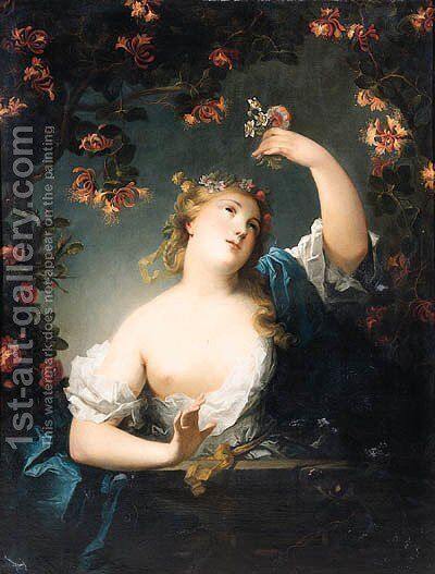 Flora, standing half length on a balcony by (after) Nicolas De Largilliere - Reproduction Oil Painting