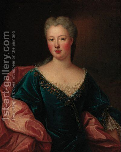 Portrait of a lady, half-length, in a blue dress with a white wrap by (after) Nicolas De Largilliere - Reproduction Oil Painting