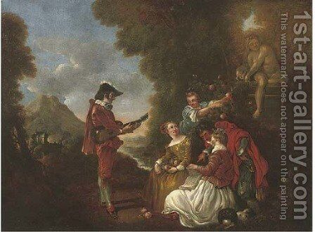 Elegant company in a landscape with a gentleman making music by (after) Lancret, Nicolas - Reproduction Oil Painting