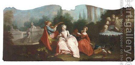 Elegant company making music in a garden by (after) Lancret, Nicolas - Reproduction Oil Painting