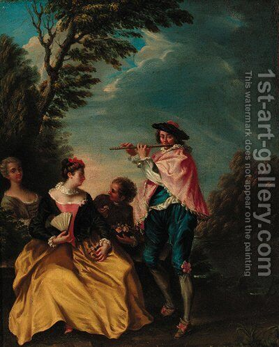 Scene Galante by (after) Lancret, Nicolas - Reproduction Oil Painting