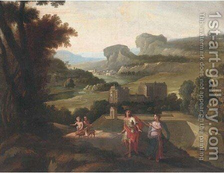 An Italianate landscape with an amorous couple before a villa by (after) Nicolas Poussin - Reproduction Oil Painting