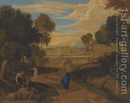 An Italianate wooded landscape with classical figures on a path, a river beyond by (after) Nicolas Poussin - Reproduction Oil Painting