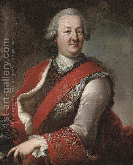 Portrait of a gentleman by (after) Of Hyacinthe Rigaud - Reproduction Oil Painting
