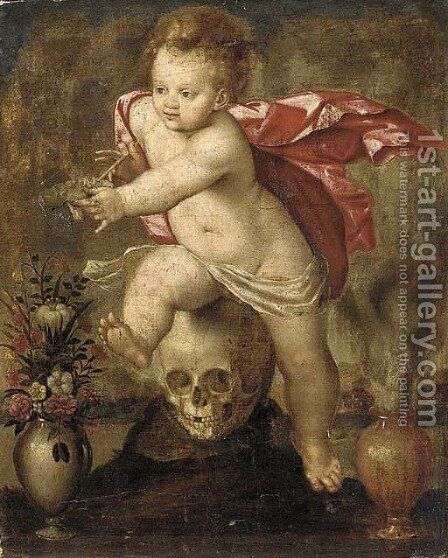 Homo bulla est a vanitas still life with a child blowing bubbles by (after) Otto Van Veen - Reproduction Oil Painting