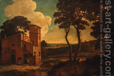 An Italianate landscape with washerwomen outside a villa by (after) Paolo Anesi - Reproduction Oil Painting