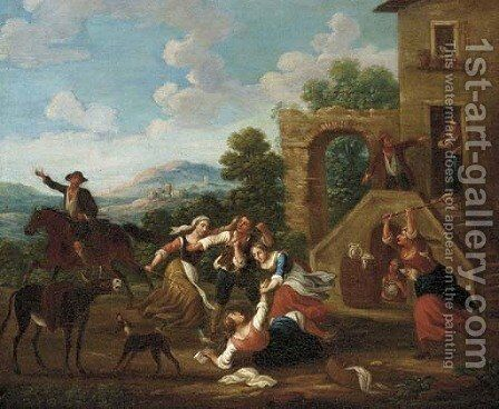 Countryfolk fighting before a house by (after) Paolo Monaldi - Reproduction Oil Painting