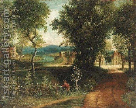 An angler in a wooded landscape with a village beyond by (after) Patrick Nasmyth - Reproduction Oil Painting