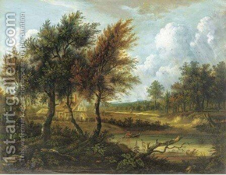 Figure in a rowing boat before a cottage in a wooded landscape by (after) Patrick Nasmyth - Reproduction Oil Painting