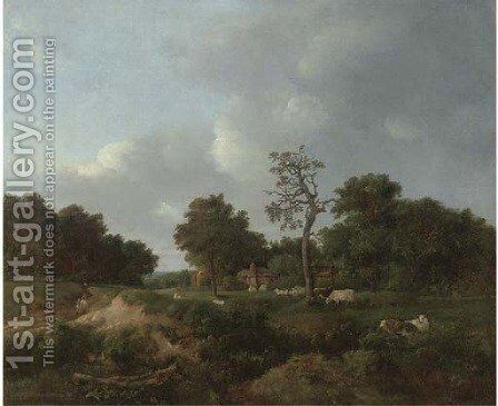 Figures on a track by a farm by (after) Patrick Nasmyth - Reproduction Oil Painting