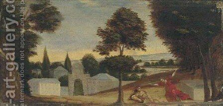 A wooded landscape with Pyramus and Thisbe by (after) Paul Bril - Reproduction Oil Painting