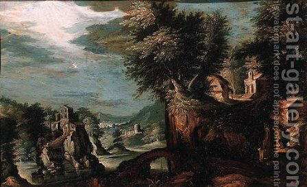 Cottages on a cliff overlooking a valley with a castle on a rock beyond by (after) Paul Bril - Reproduction Oil Painting