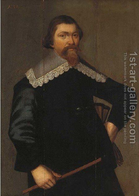 Portrait of a gentleman, three-quarter-length, in a black coat with a lace collar by (after) Paulus Moreelse - Reproduction Oil Painting
