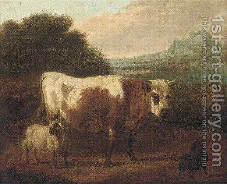 A cow and sheep in a landcape by (after) Paulus Potter - Reproduction Oil Painting