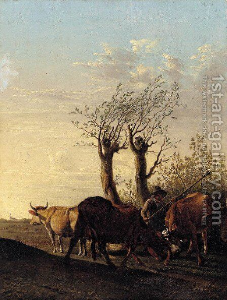 A cowherd in a landscape by (after) Paulus Potter - Reproduction Oil Painting