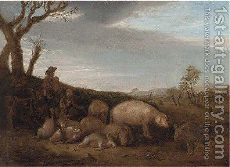 A swineherd with pigs in a landscape by (after) Paulus Potter - Reproduction Oil Painting