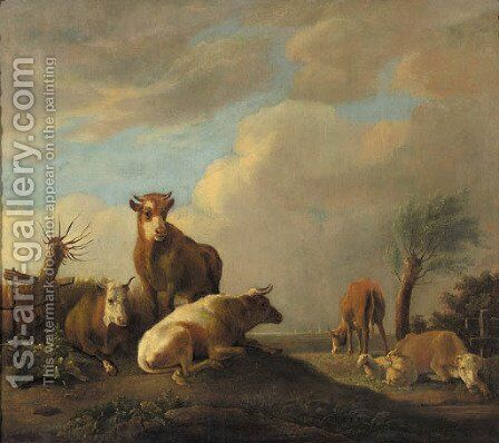 Cattle and sheep in a meadow by (after) Paulus Potter - Reproduction Oil Painting