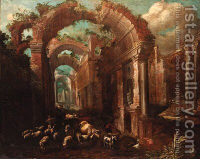 A capriccio of a ruined classical arcade by (after) Pauwels Franck, Called Paolo Fiammingo - Reproduction Oil Painting