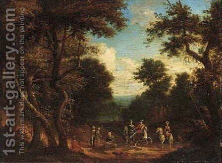 A hunting party in a forest clearing by (after) Peeter Bout - Reproduction Oil Painting