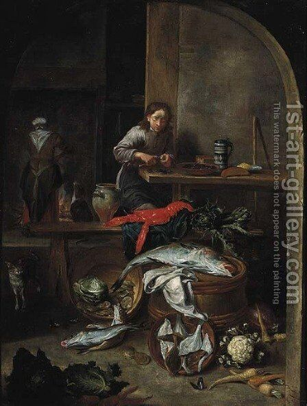 A boy preparing mussels by a table by (after) Peeter Snyers - Reproduction Oil Painting