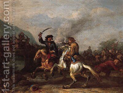 A cavalry skirmish by a bridge by (after) Peeter Verdussen - Reproduction Oil Painting