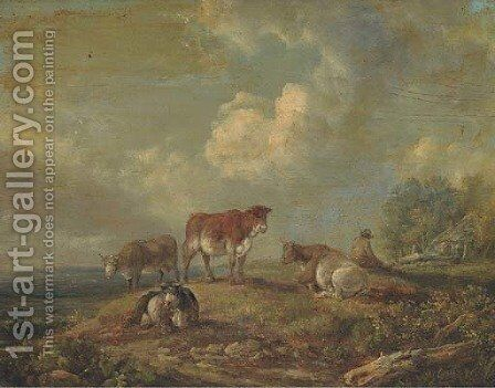 A drover with cattle by (after) Peter Le Cave - Reproduction Oil Painting
